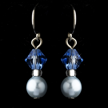 Silver Light Blue Czech Glass Pearl & Swarovski Crystal Bead Earrings 2031