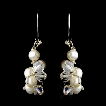 Silver Freshwater Pearl & AB Swarovski Crystal Bead Dangle Hook Earrings 2148