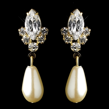 Gold Ivory Pearl & Clear Teardrop Rhinestone Dangle Earrings 2214