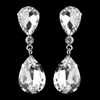 Silver Clear Teardrop Clipped Dangle Earrings 2233