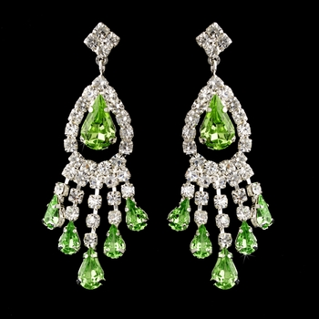 Silver Peridot Teardrop & Clear Round Rhinestone Chandelier Earrings 2479