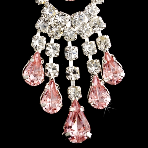 Silver Pink Teardrop & Clear Round Rhinestone Chandelier Earrings 2479