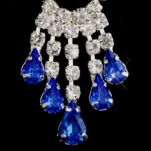 Silver Sapphire Teardrop & Clear Round Rhinestone Chandelier Earrings 2479