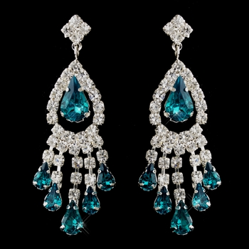 Silver Teal Teardrop & Clear Round Rhinestone Chandelier Earrings 2479