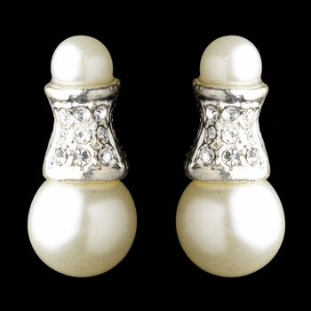 Silver Ivory Glass Pearl & Rhinestone Earrings 2542