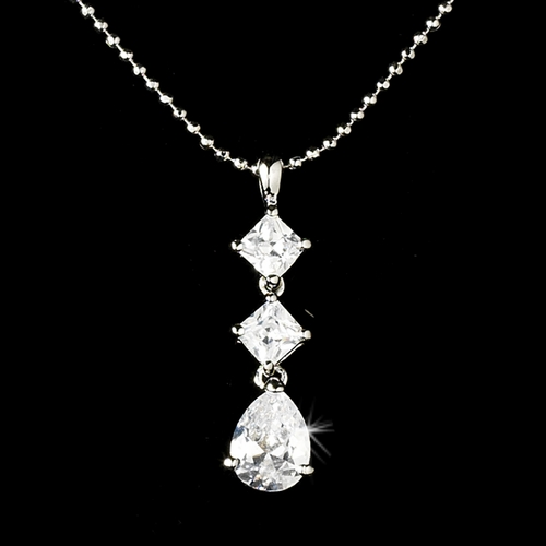 * Shimmer and Shine Silver Cubic Zirconia Chandelier Style Necklace ***Discontinued***
