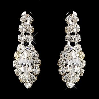 Silver Clear Marquise & Round Rhinestone Earrings 2624