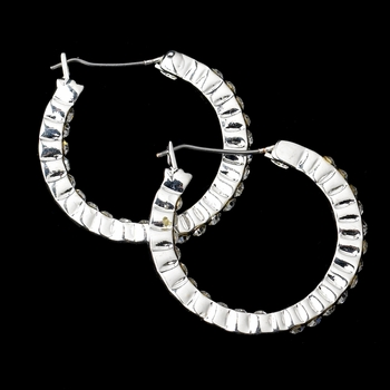 Silver Clear Rhinestone Hoop Earrings 2794