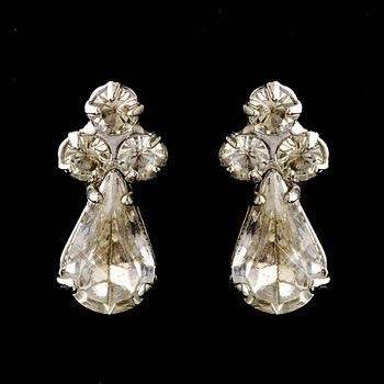 Silver Clear Teardrop Rhinestone Earrings 3041