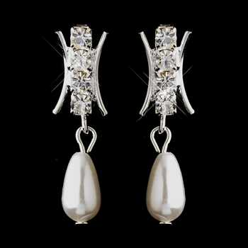 Silver White Pearl & Rhinestone Dangle Earrings 3377