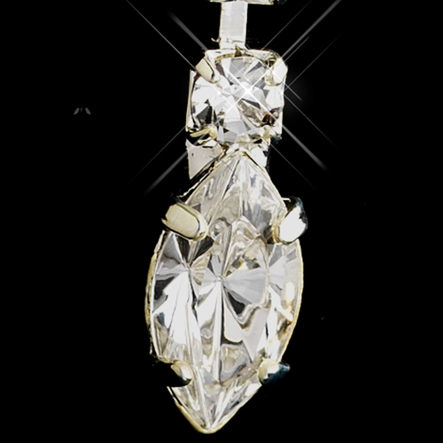 Silver Clear Marquise & Round Rhinestone Drop Earrings 4012-1