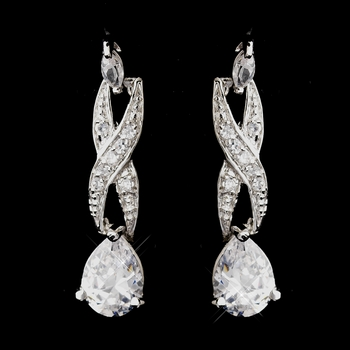Antique Silver Rhodium Clear CZ Crystal Dangle Earrings 4068