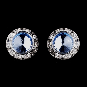 Silver Light Blue Rhinestone Rondelle Clipped Stud Earrings 4712
