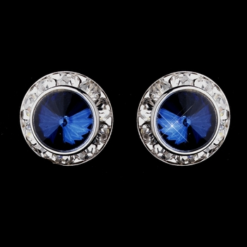 Silver Navy Rhinestone Rondelle Pierced Stud Earrings 4712
