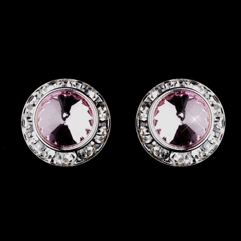 Silver Pink Rhinestone Rondelle Clipped Stud Earrings 4712