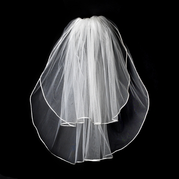 "VR S Ivory - Rattail Satin Corded Edge Veil, 2 Layers Shoulder Length Veil (20"" x 25"" long)"