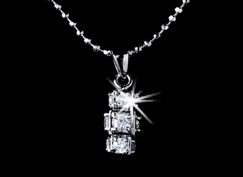 Silver 3 Cube D730Cubic Zirconia Pendant N 3537 Silver