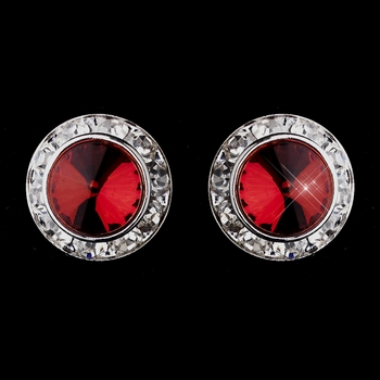 Silver Red Rhinestone Rondelle Pierced Stud Earrings 4712