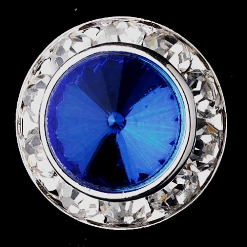 Silver Sapphire Rhinestone Rondelle Pierced Stud Earrings 4712