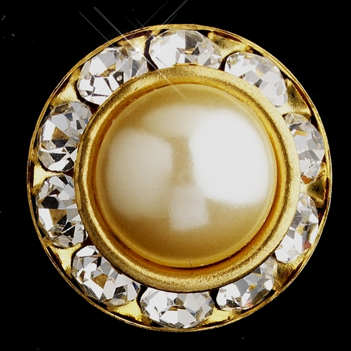 Gold Ivory Pearl & Clear Rhinestone Clipped Stud Button Earrings 4722