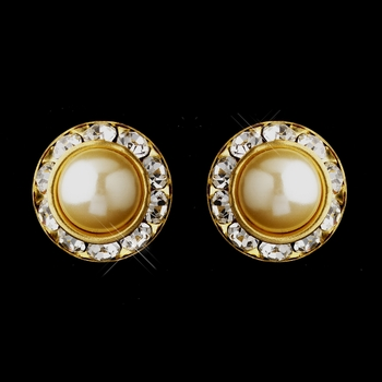 Gold Ivory Pearl & Clear Rhinestone Pierced Stud Button Earrings 4722