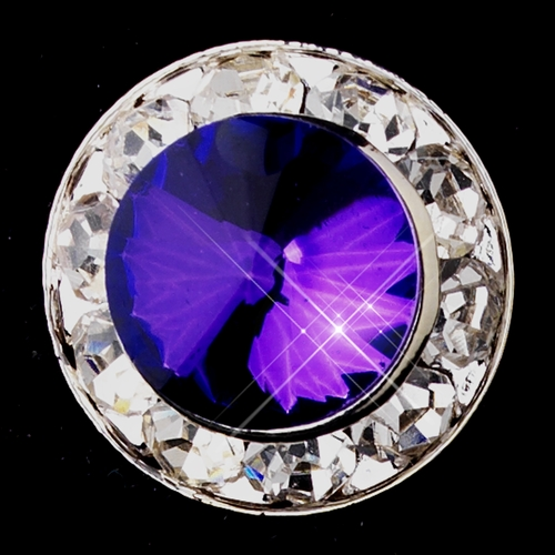 Silver Amethyst Rhinestone Clipped Stud Button Earrings 4722