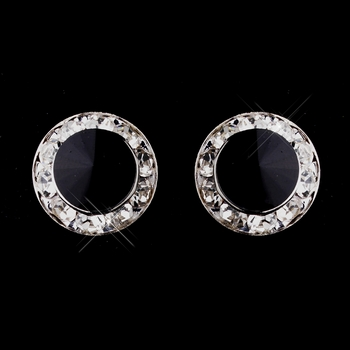 Silver Black Rhinestone Clipped Stud Button Earrings 4722