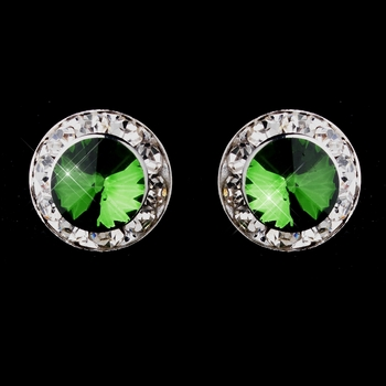 Silver Emerald Rhinestone Pierced Stud Button Earrings 4722