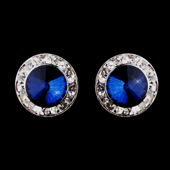 Silver Navy Rhinestone Pierced Stud Button Earrings 4722