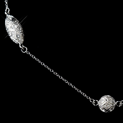 Antique Rhodium Silver Clear  Crystal Pave Ball Chain Necklace 8571