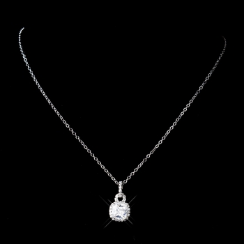 Antique Rhodium Silver Clear CZ Princess Cut Square Pave Drop Necklace 8114