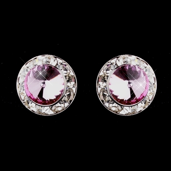 Silver Pink Rhinestone Clipped Stud Button Earrings 4722