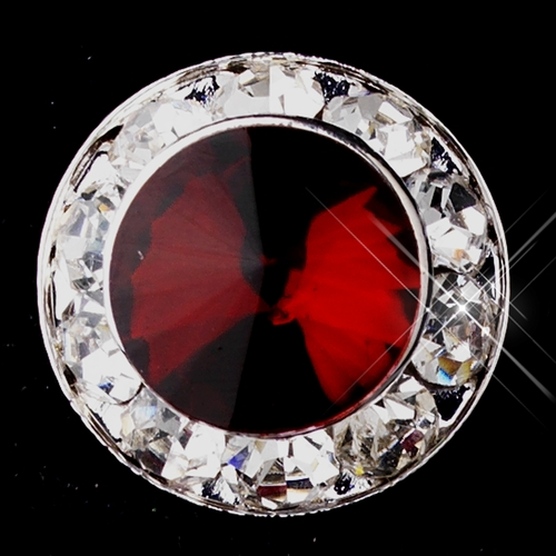 Silver Ruby Rhinestone Clipped Stud Button Earrings 4722