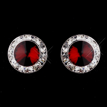 Silver Ruby Rhinestone Pierced Stud Button Earrings 4722