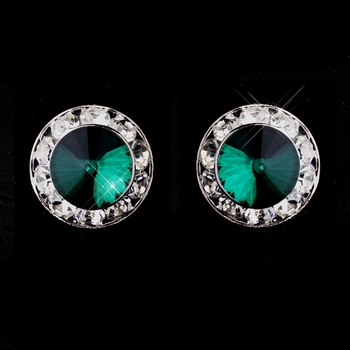 Silver Teal Rhinestone Clipped Stud Button Earrings 4722