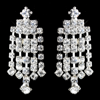 Silver Clear Five Row Rhinestone Chandelier Dangle Earrings 5097