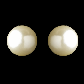 Gold Ivory Pearl Clipped Stud Earrings 6072