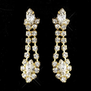 Gold Clear Marquise Dangle Earrings 6102