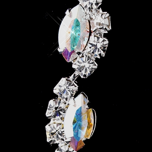 Silver AB Alternating Marquise Rhinestone Dangle Earrings 6122