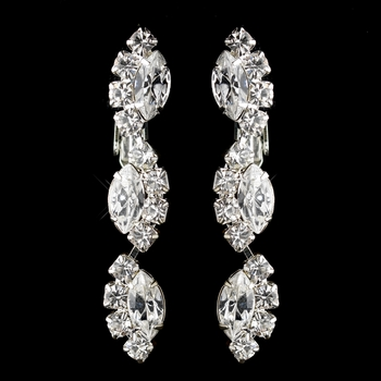 Silver Clear Alternating Marquise Rhinestone Dangle Clipped Earrings 6122