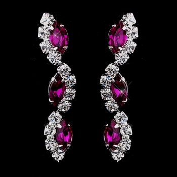 Silver Fuchsia Alternating Marquise Rhinestone Dangle Earrings 6122