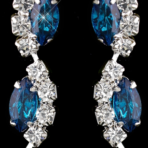 Silver Teal Alternating Marquise Rhinestone Dangle Earrings 6122