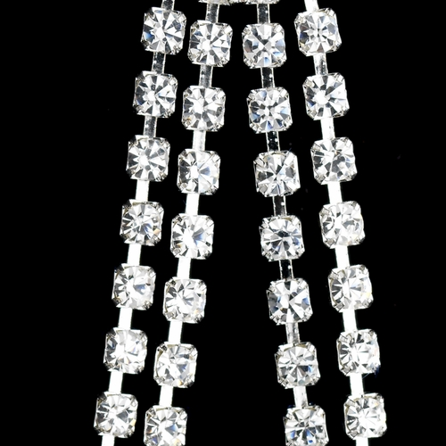 Silver Clear Rhinestone Loop Dangle Earrings 6552