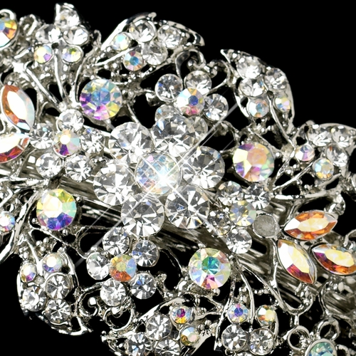 Glamour Goddess Crystal Irridescent Barrette 8335 Silver AB***Discontinued***
