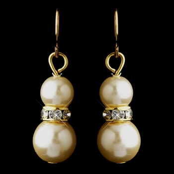 Gold Ivory Czech Glass Pearl & Rhinestone Rondelle Drop Earrings 8667