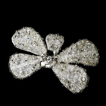 * White Bow Clip 478 with Brooch Pin ***2 Left***