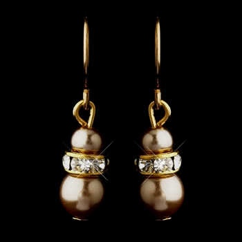 Gold Light Brown Czech Pearl & Clear Rhinestone Rondelle Drop Earrings 8805
