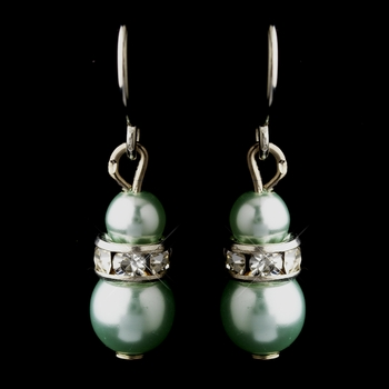 Silver Peridot Czech Pearl & Clear Rhinestone Rondelle Drop Earrings 8805