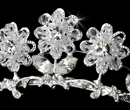 Child's Silver Clear Tiara Headpiece 605