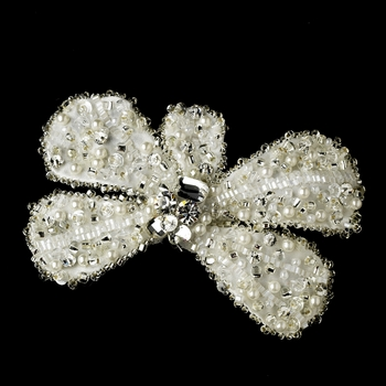 * Ivory Bow Clip with Brooch Pin 478 ***2 Left***